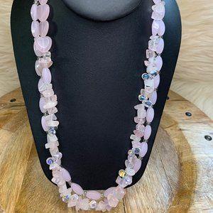 Sterling 925 Rose Quartz Double Strand Necklace